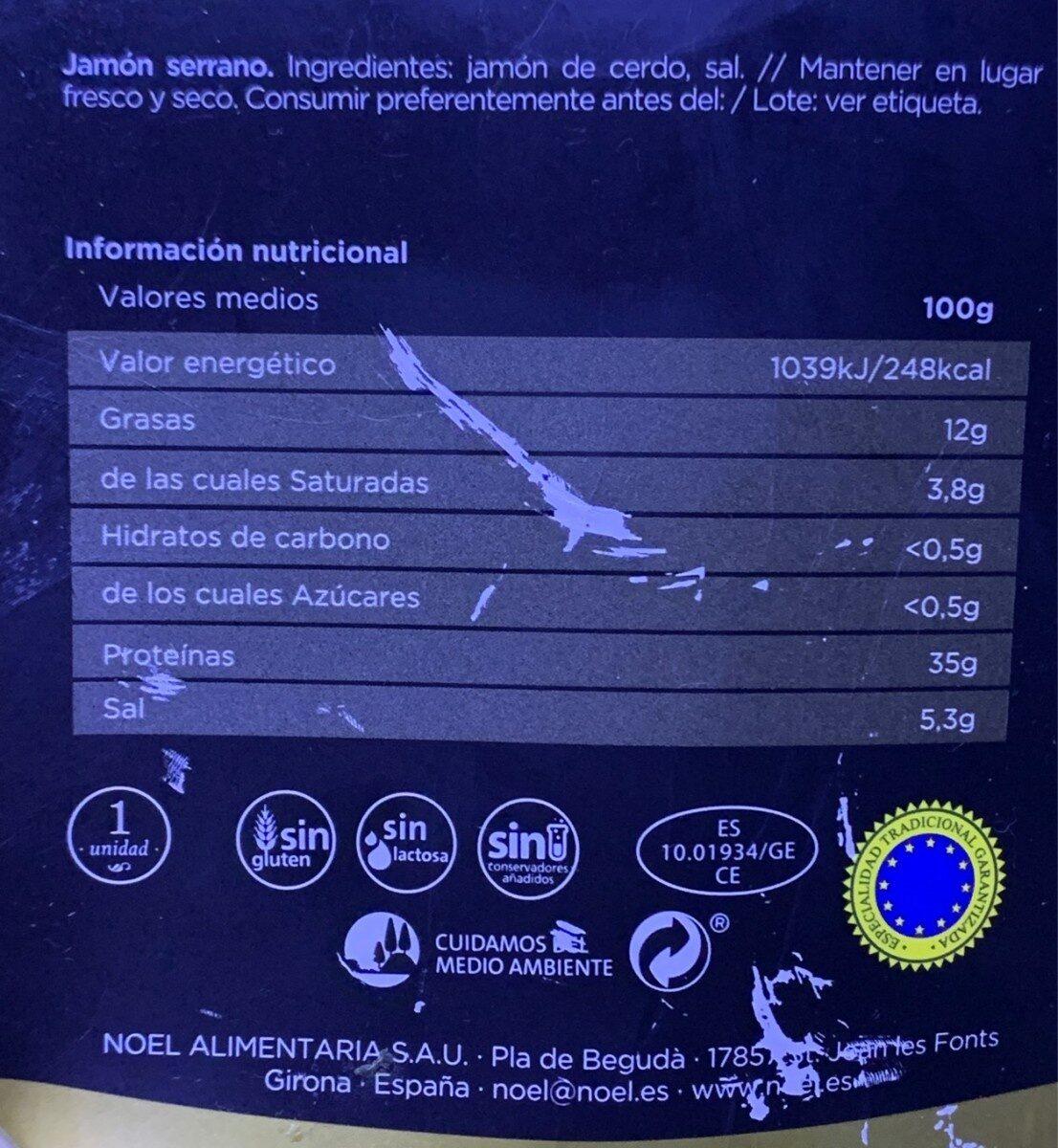 Jamon Serrano Gran Reserva SIN ADITIVOS - Información nutricional - es