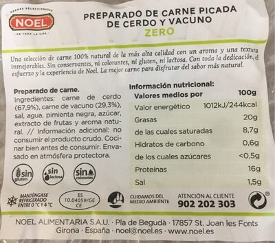 Preparado de carne de cerdo y vacuno - Información nutricional