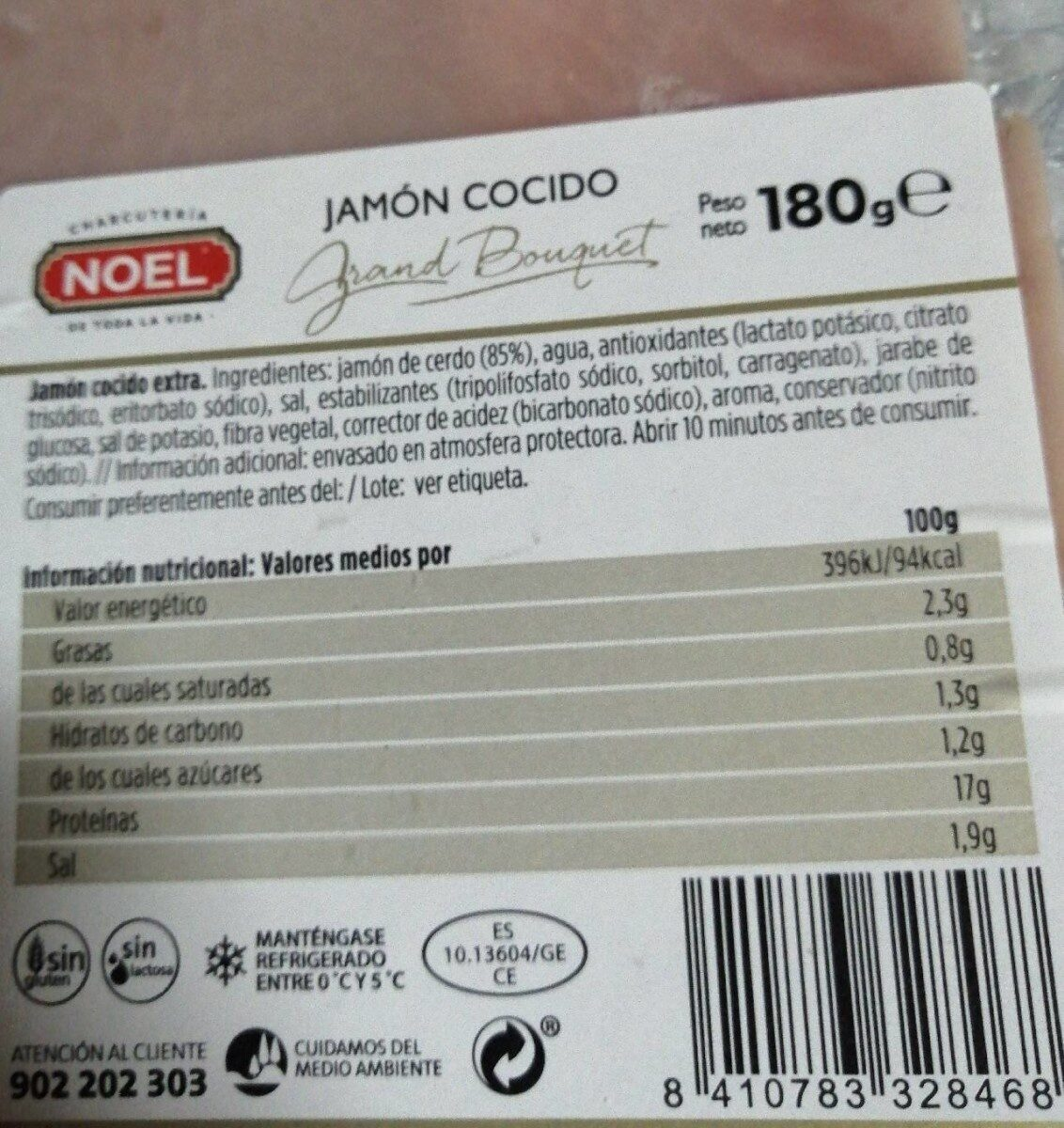 Grand bouquet jamon cocido extra - Información nutricional - fr