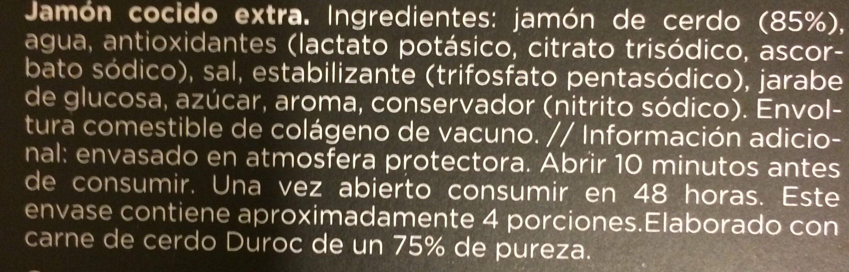 Jambon cocido - Ingredientes - es