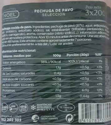 Pechuga de pavo seleccion - Información nutricional - es