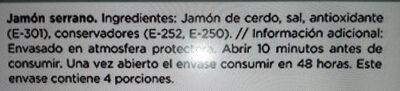 Delizias al corte Jamon Serrano - Ingredientes - es