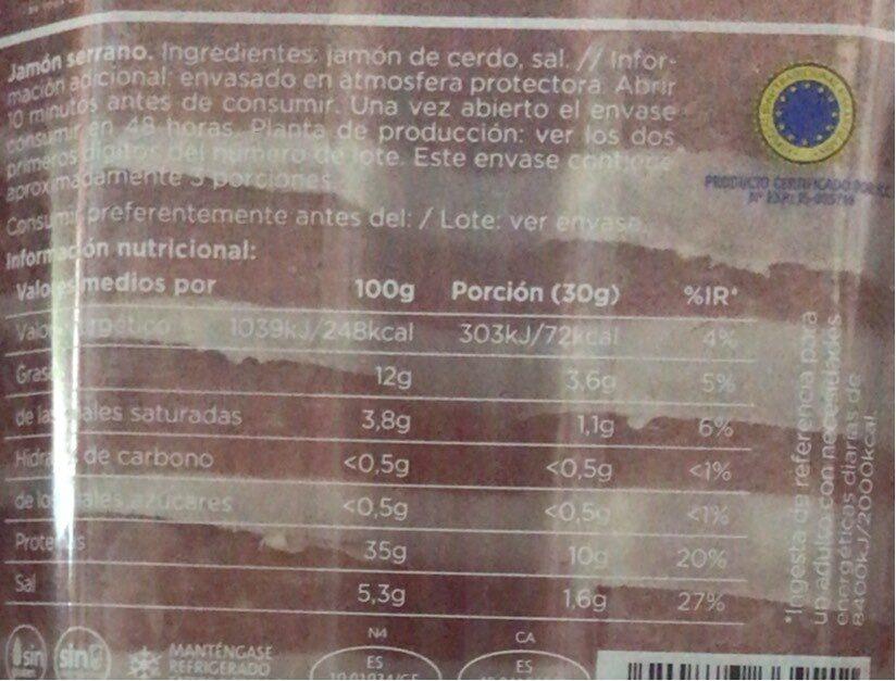 Delizias al corte Jamon Serrano - Nutrition facts - es