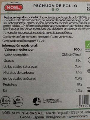 Pechuga de pollo bio Noel - Información nutricional - es