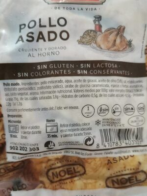 Pollo asado - Nutrition facts