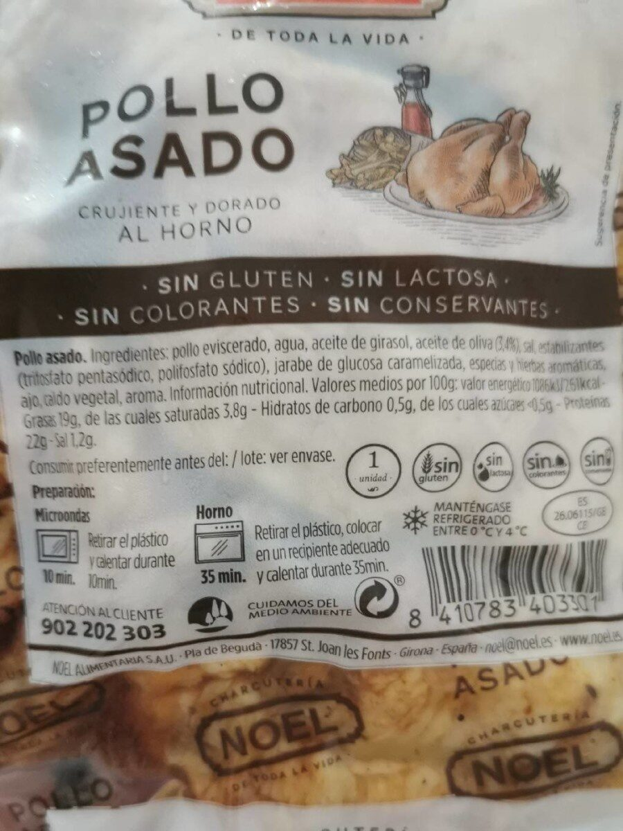 Pollo asado - Nutrition facts