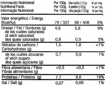 "Tofu ""Burgalia"" ""Frías"" - Nutrition facts"