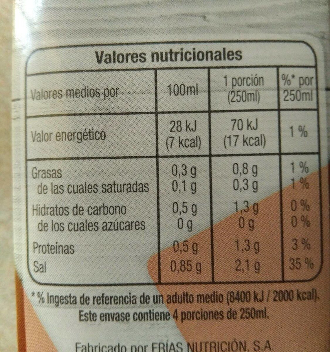 Caldo de cocido - Informació nutricional - es