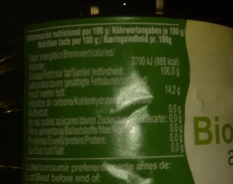 Aceite de oliva virgen extra ecológico - Información nutricional - es