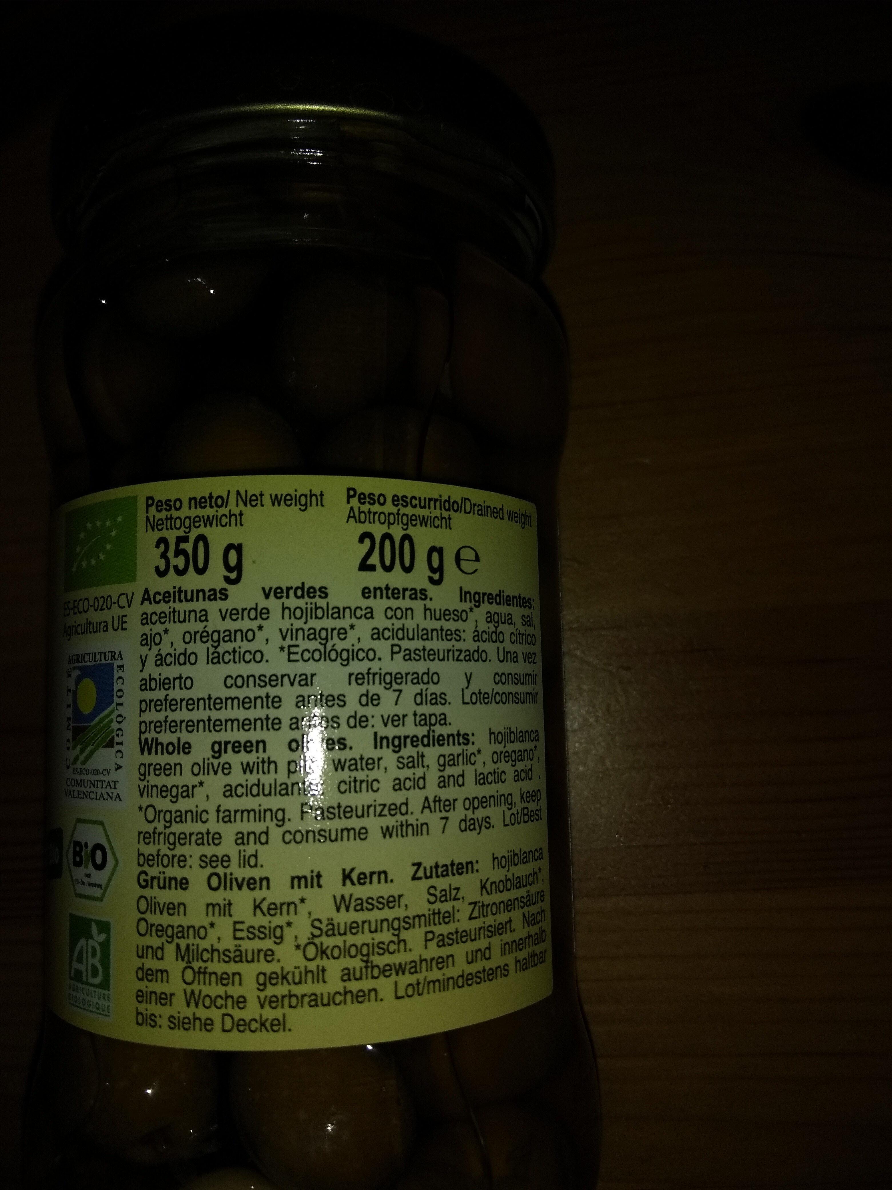 Aceituna Hojiblanca con ajo y orégano - Ingredientes