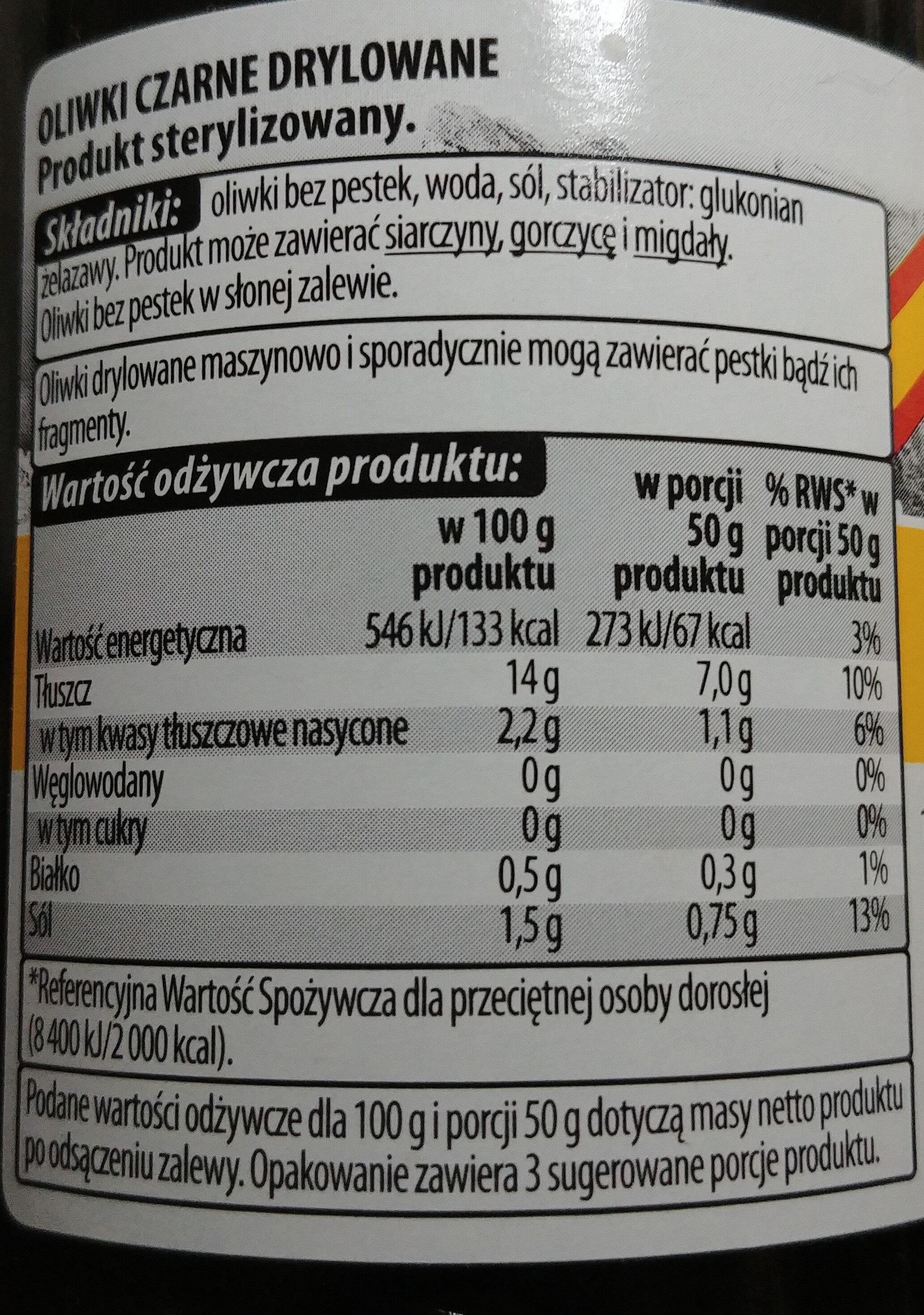 Oliwki czarne drylowane - Informations nutritionnelles - pl