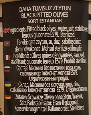 Olives noires dénoyautées - Ingrédients - fr