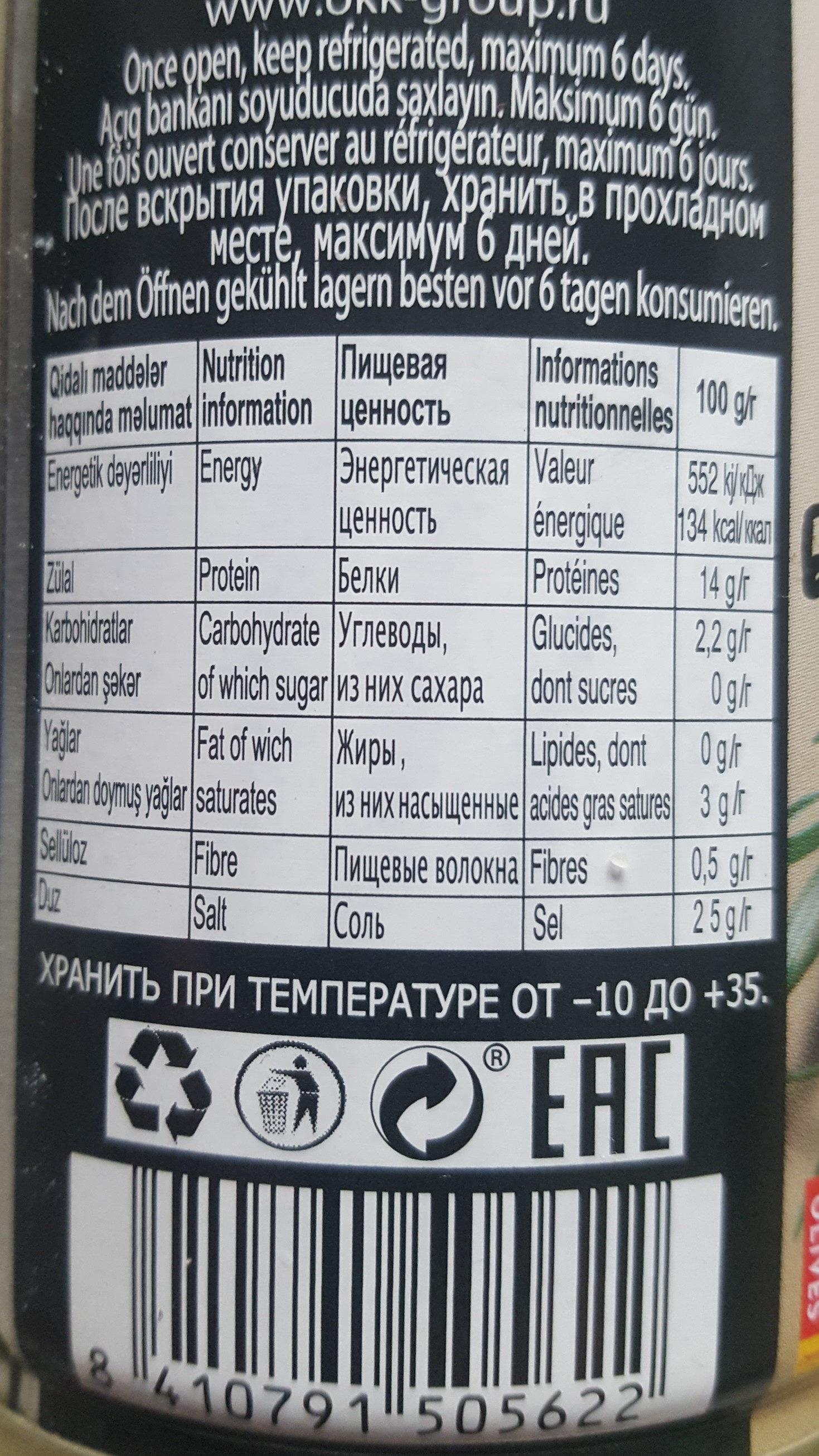 Olives noires dénoyautées - Informations nutritionnelles - fr