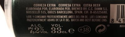 Voll-damm Beer - Doble Malta / Valencia 32TH America's Cup - Ingredients