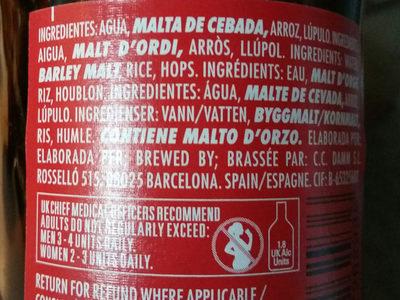 Premium quality lager gluten free - Ingredients
