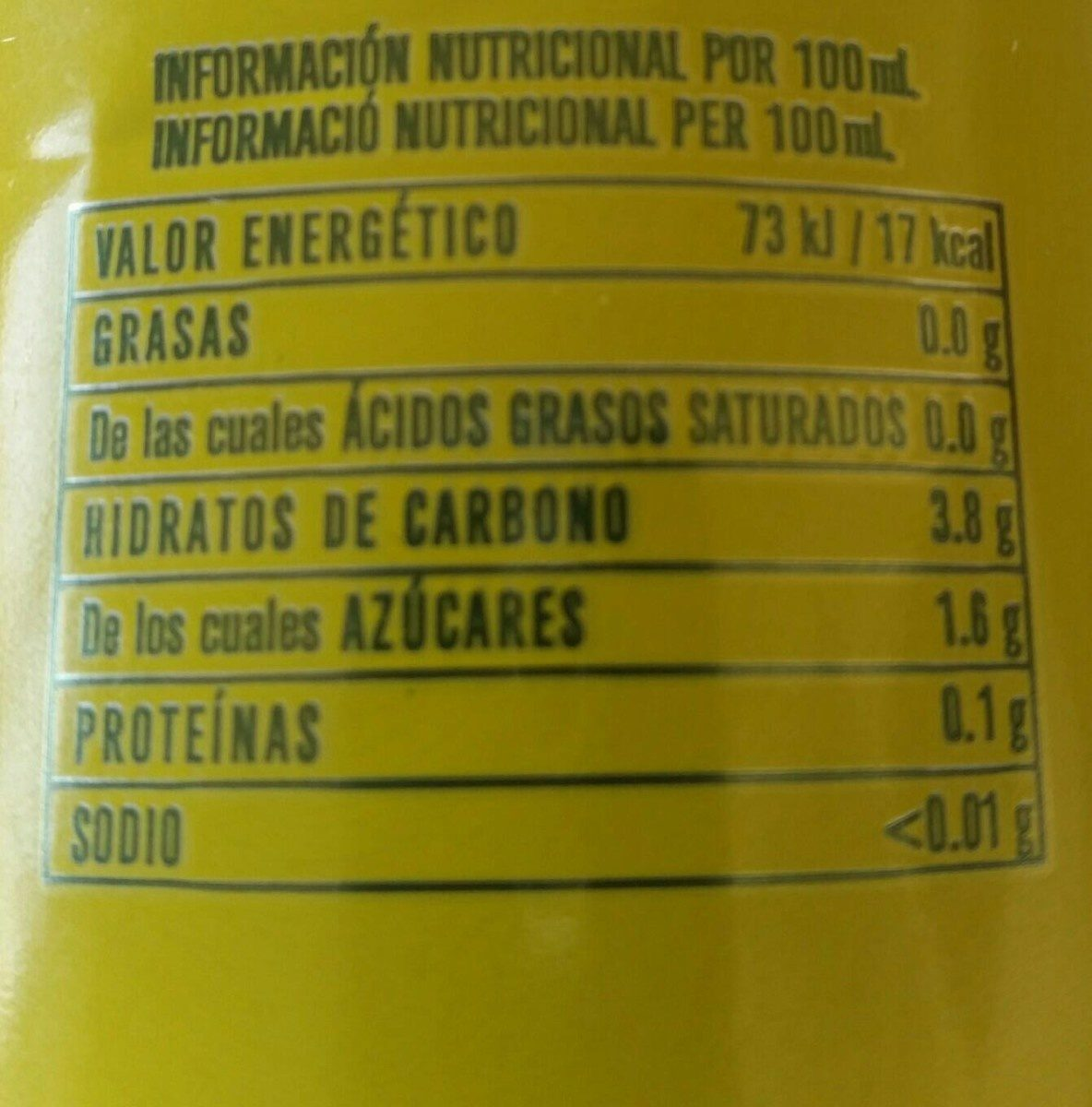 Free Cerveza Sin Alcohol Sabor Limón - Informations nutritionnelles - fr