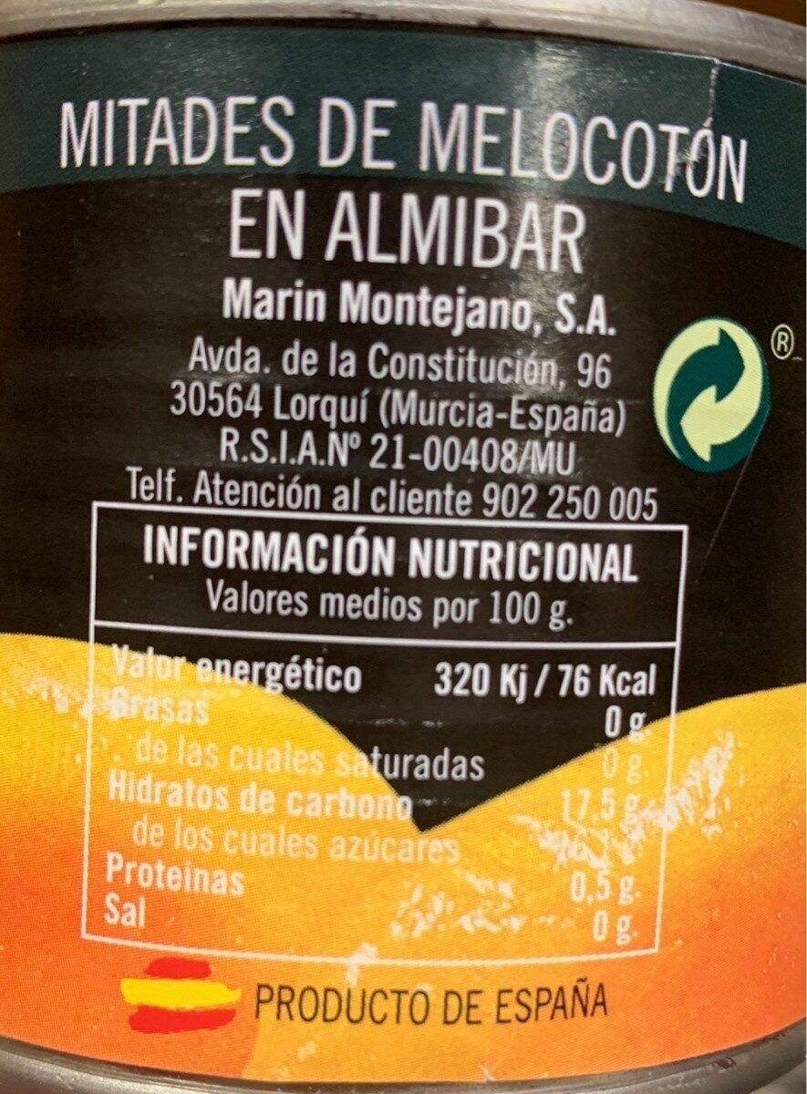 Melocoton en almibar - Informations nutritionnelles - es