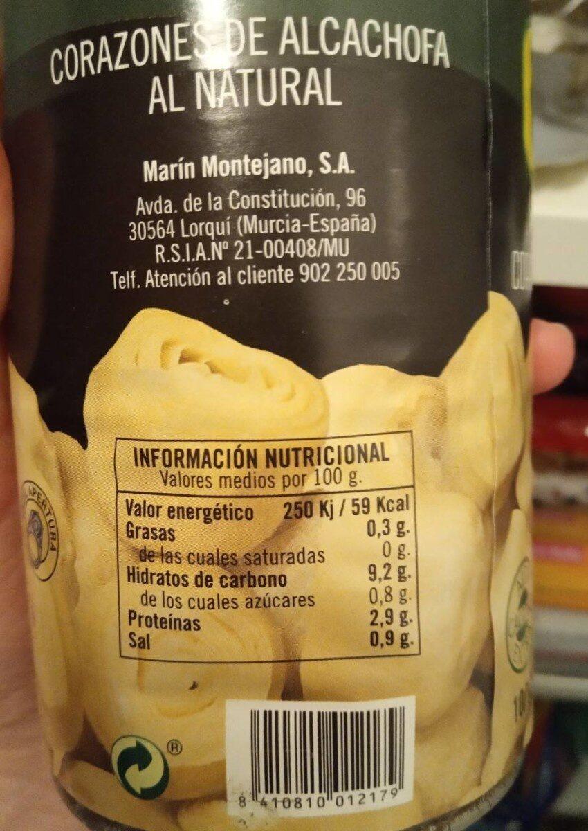 Corazones de alcachofa PRIETO - Informations nutritionnelles - es