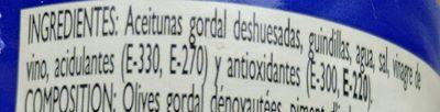 Aceituna gordal con guindillas - Ingredients