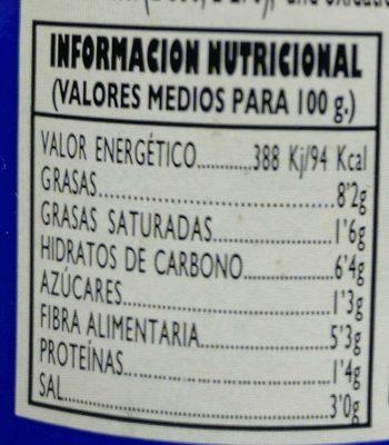 Aceituna gordal con guindillas - Informació nutricional