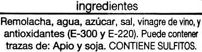 Remolacha roja en tiras - Ingredientes - es