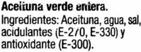 Aceituna Ecologica verde entera - Ingrediënten - es