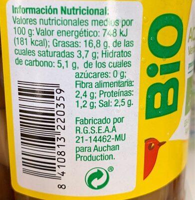 Aceituna Ecologica verde entera - Voedingswaarden - es