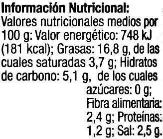 Aceituna verde entera - Voedingswaarden