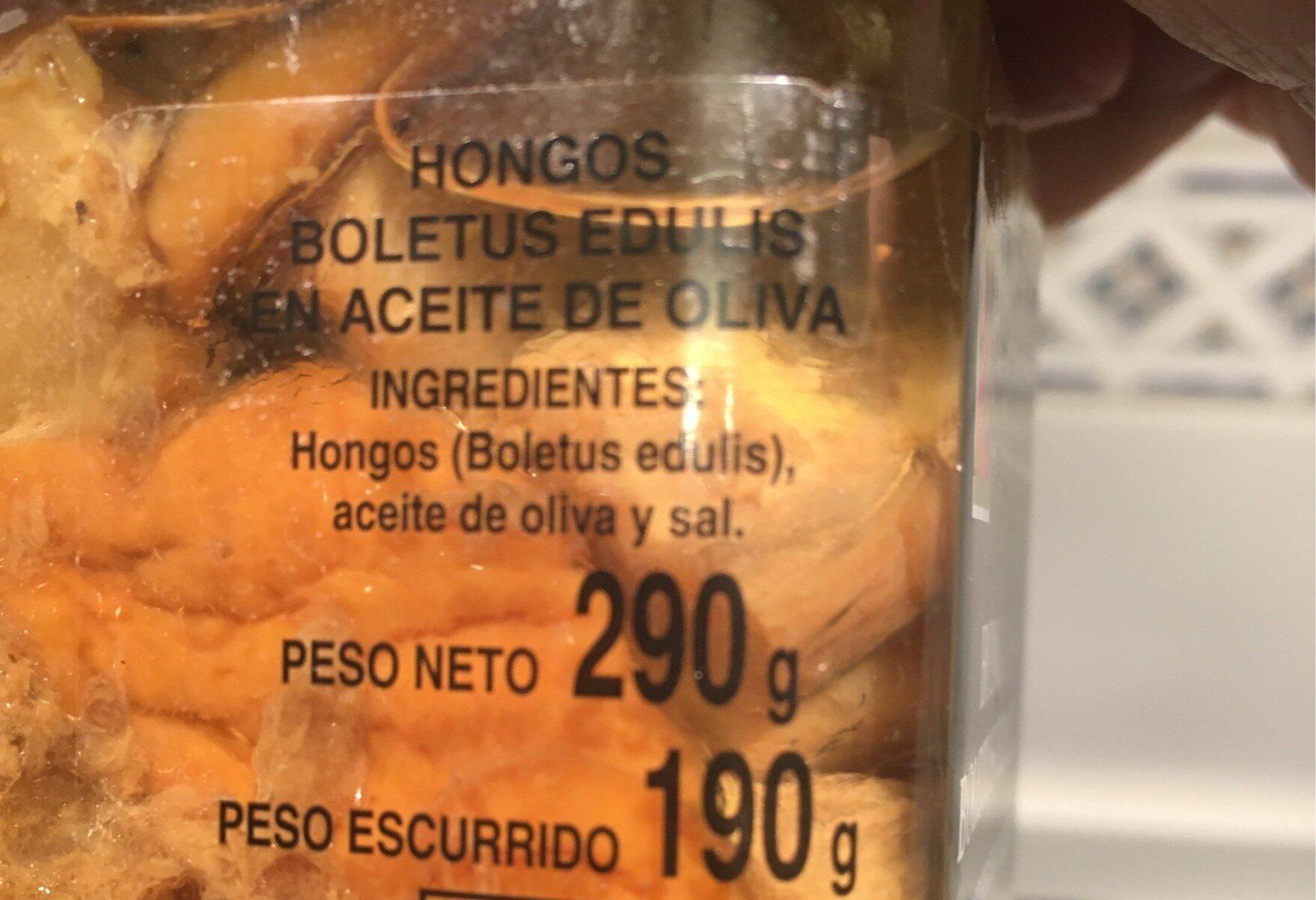 Hongos Boletus Edulis - Información nutricional