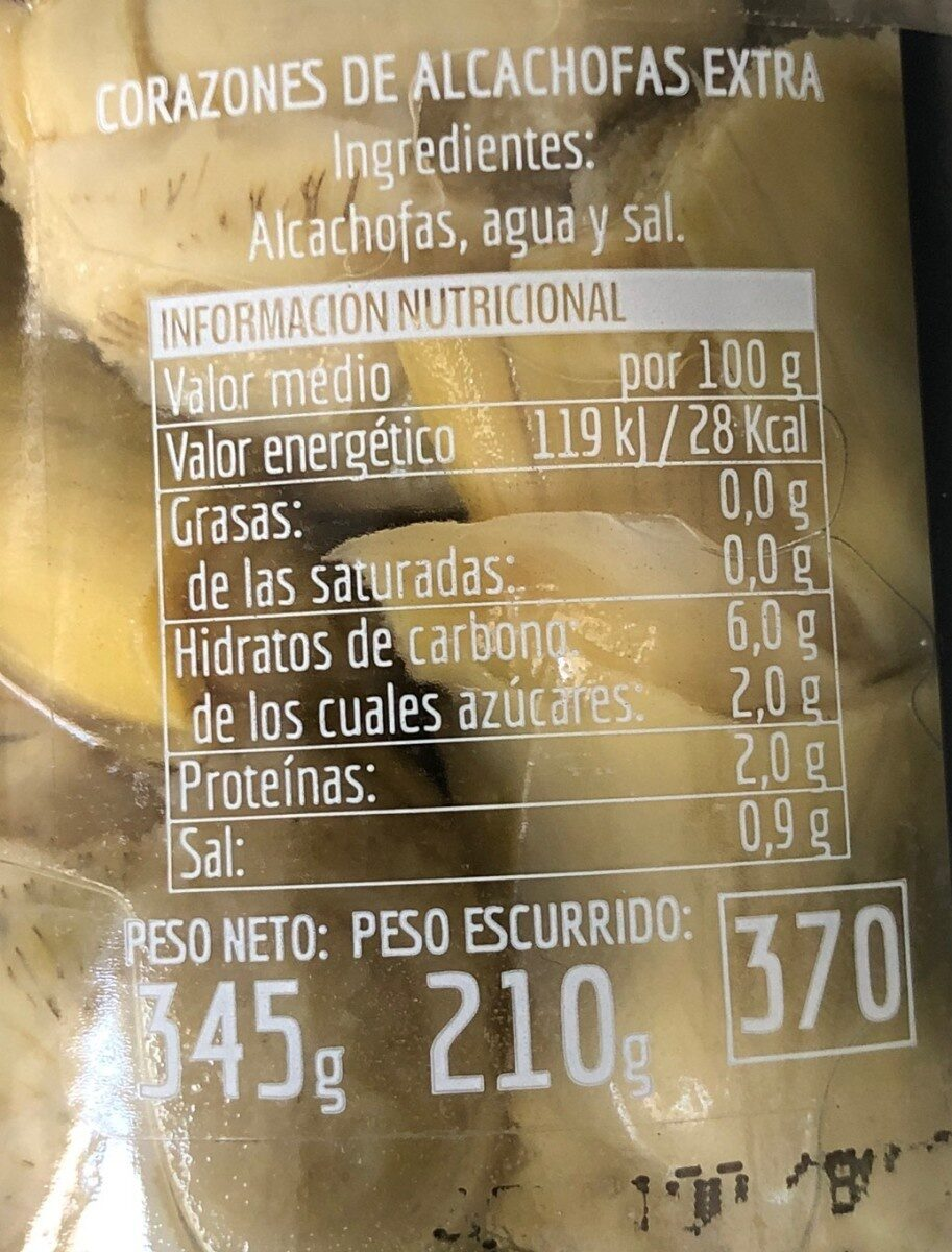 Corazones de alcachofas extra - Informations nutritionnelles - es