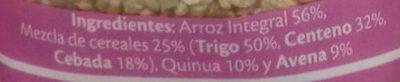 Arroz integral con quinoa + 4 cereales - Ingredientes