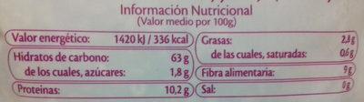 Arroz integral con quinoa + 4 cereales - Información nutricional
