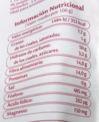 Quinoa Roja - Información nutricional - es