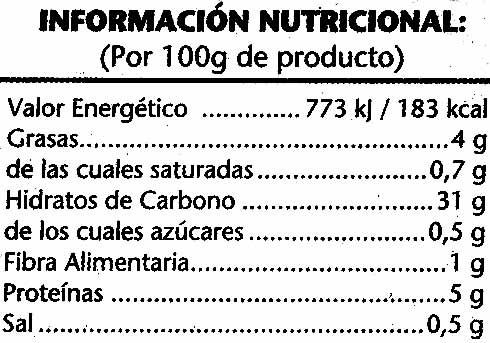 Arroz cocido integral - Información nutricional - es