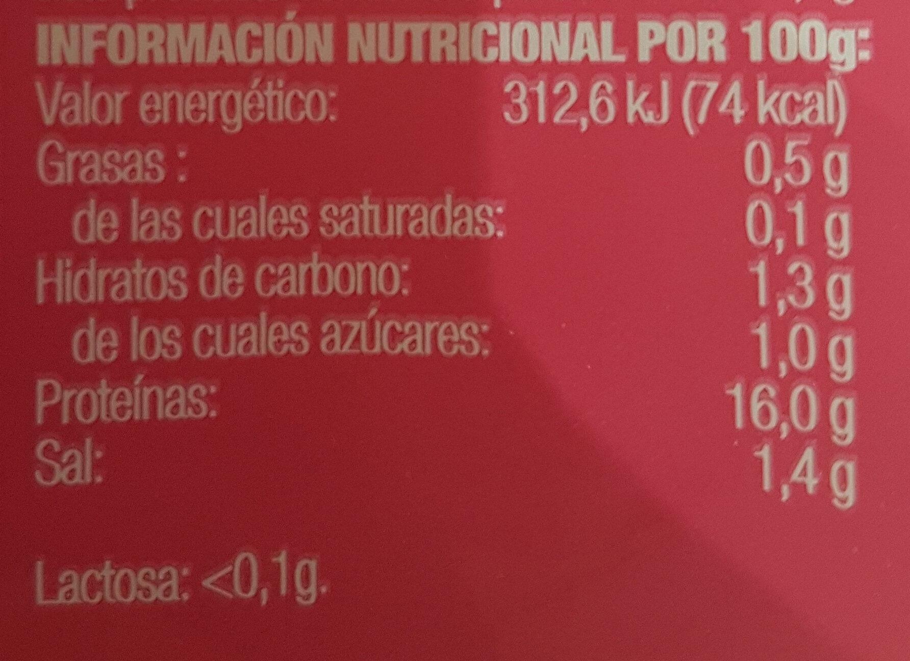Bien Star pechuga de pavo - Informations nutritionnelles - es