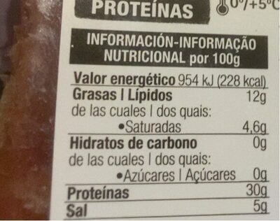 Jamón curado medias lonchas - Información nutricional - es