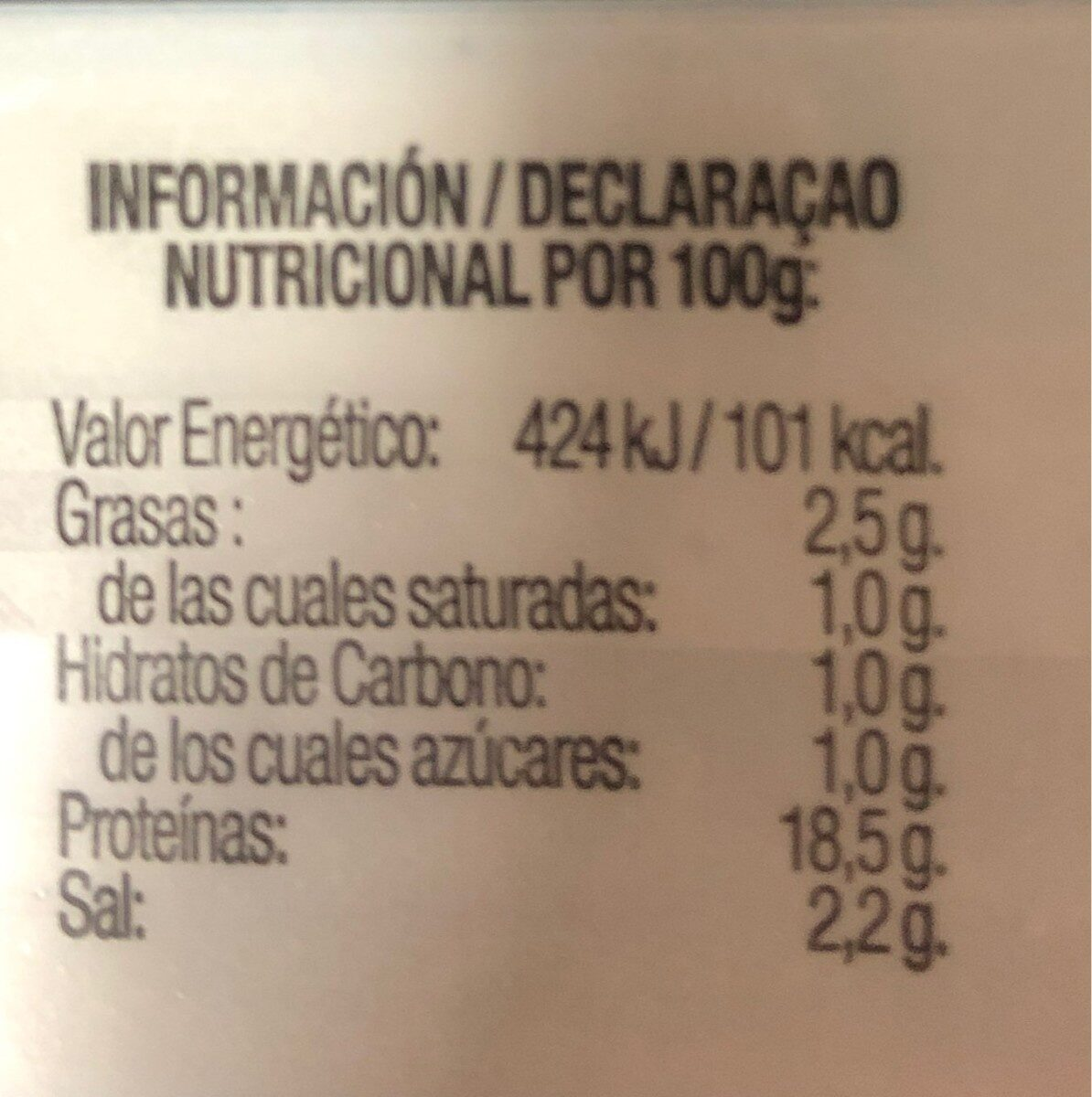 Jamón cocido extra - Voedingswaarden