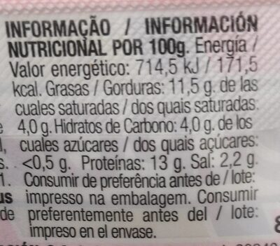 Chopped Lata extra - Nutrition facts