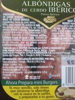 Albóndigas de cerdo ibérico - Informació nutricional - es