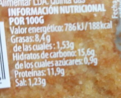Nugget de pechuga de pollo - Información nutricional - es