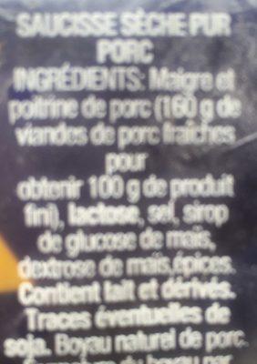 SAUCISSE SECHE FUETEC 170G - Ingrédients - fr