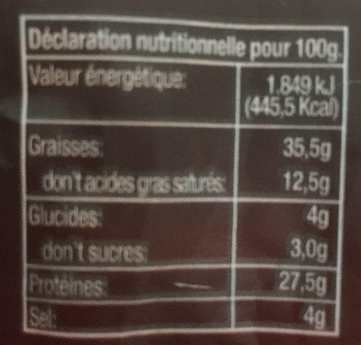 SAUCISSE SECHE FUETEC 170G - Informations nutritionnelles - fr