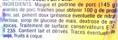 Chorizo Doux - Ingredients