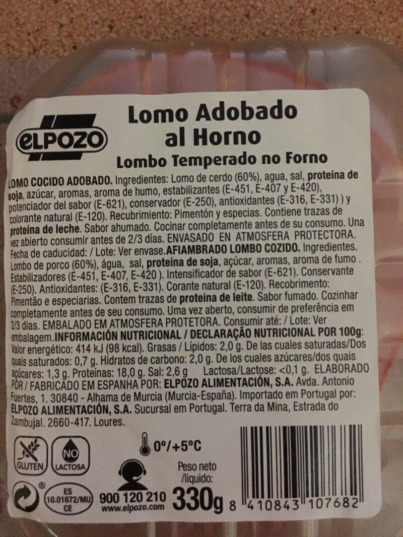 Lomo adobado al horno - Ingredientes - es