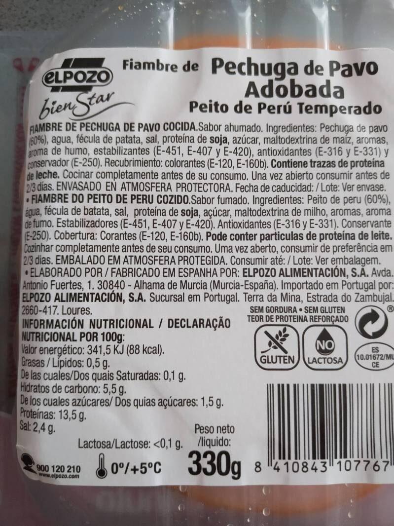 Bien Star pechuga de pavo adobada - Ingredients