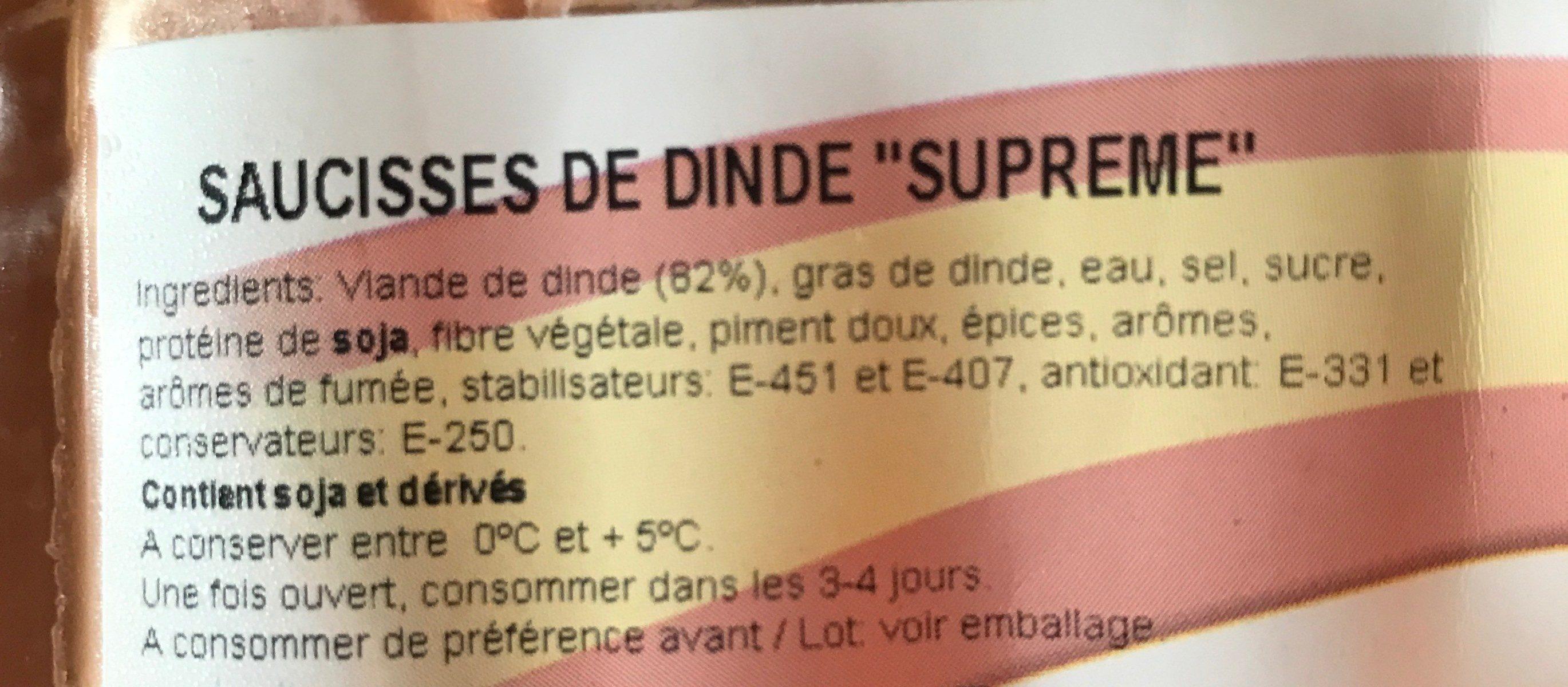 Supreme pavo - Ingrédients