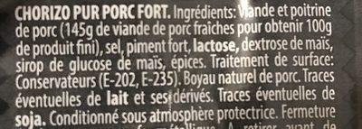 Chorizo fort - Ingredients