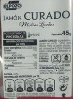 Jamón curado - Información nutricional - es