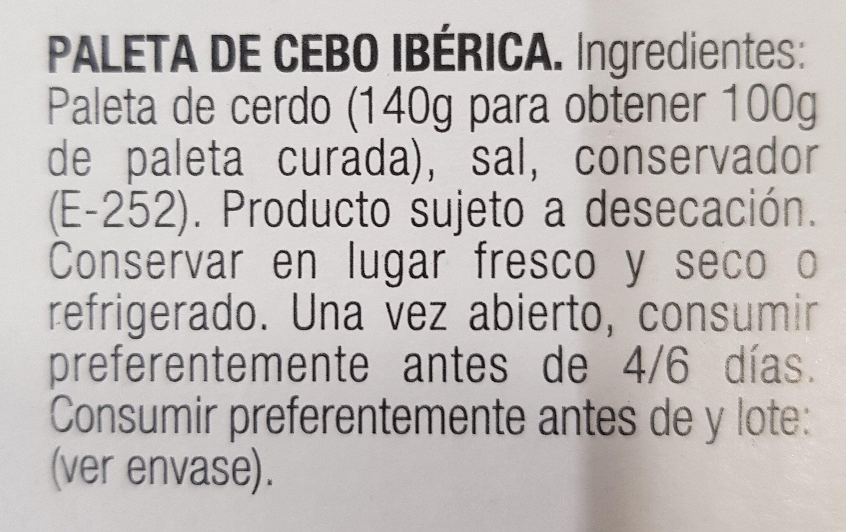 Paleta de cebo Ibérica - Ingredientes - es