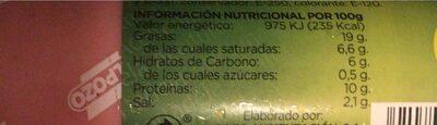 Mortadela aceitunas EL POZO - Información nutricional - es